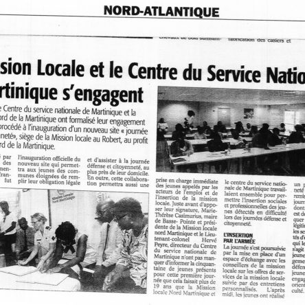 LA MISSION LOCALE ET LE CENTRE DU SERVICE NATIONAL DE MARTINIQUE S'ENGAGENT